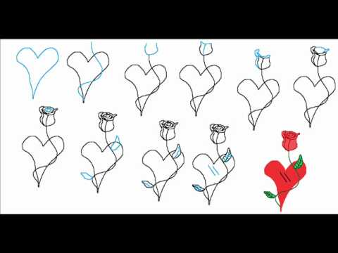 How to draw a heart with a rose flower easy simple step by for Step by step instructions on how to draw a flower