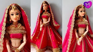 Barbie Lehenga | How to decorate a doll with indian bridal dress and jewellery | Doll lehenga making
