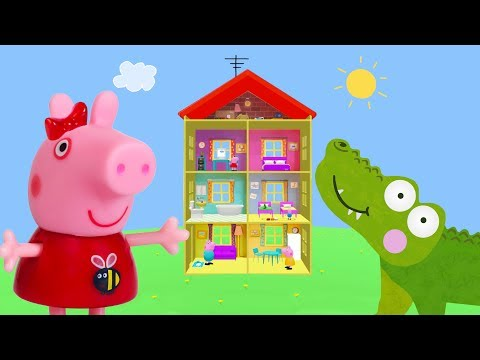 Peppa Pig Game | Crocodile Hiding Peppa Pig Toy Trains | Peppa Pig Family Home Playset for kids