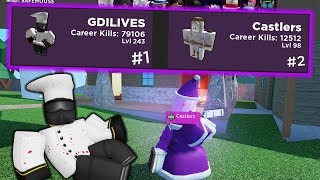 me and a dev use purple team to destroy noobs | ARSENAL ROBLOX