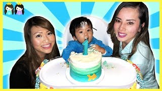 Princess ToysReview at Baby Hunter First Birthday Party! Surprise Party and Outdoor Inflatable Slide