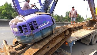 Excavator and Truck | Excavator Transport By Fuso Self Loader Truck ♫ Song for kids