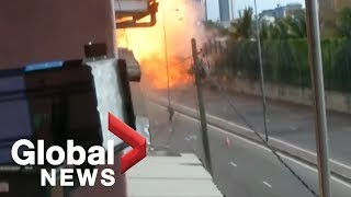 Video captures moment van explodes near Sri Lanka church while bomb squad was trying to defuse it