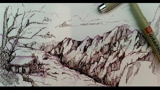 Pen and Ink Drawing Tutorials | How to draw a mountain landscape