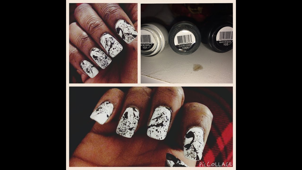 White Splatter Nails Black White Splatter Nail