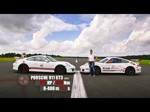 Porsche 991 GT3 vs 997 GT3 RS Sabine Schmitz - Drag Battle