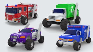 Learn Colors with Street Vehicles Monster Truck Toy Garage Factory Parking - Colors for Children ...