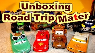 Pixar Cars Unboxing Road Trip Mater with Off Road Mater Flo and Ramone