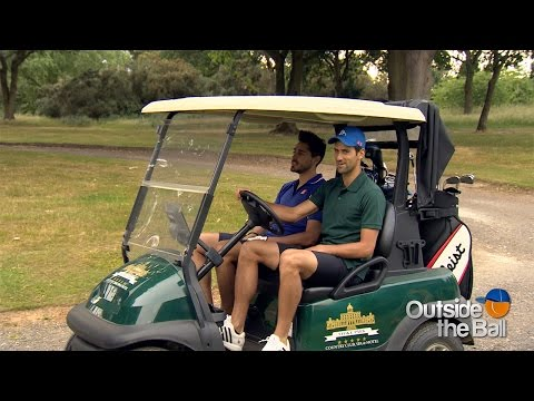 Novak Djokovic, Coach Boris Becker and Mark Stillitano Tee Up for a Game of Golf