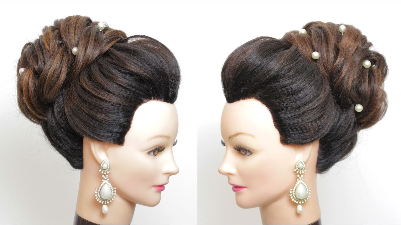 New Bridal Bun Hairstyle For Long  Medium Hair.  Updo Tutorial