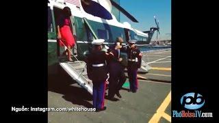 Tổng thống Obama tay cầm ly chào lính gác TQLC, bị quở