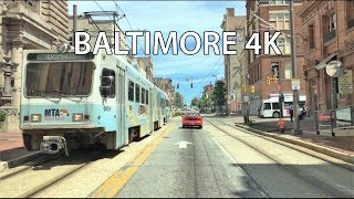 Driving Downtown - Baltimore 4K - USA