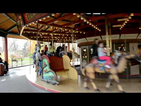Kids riding Carousel at Denver Zoo Free Day