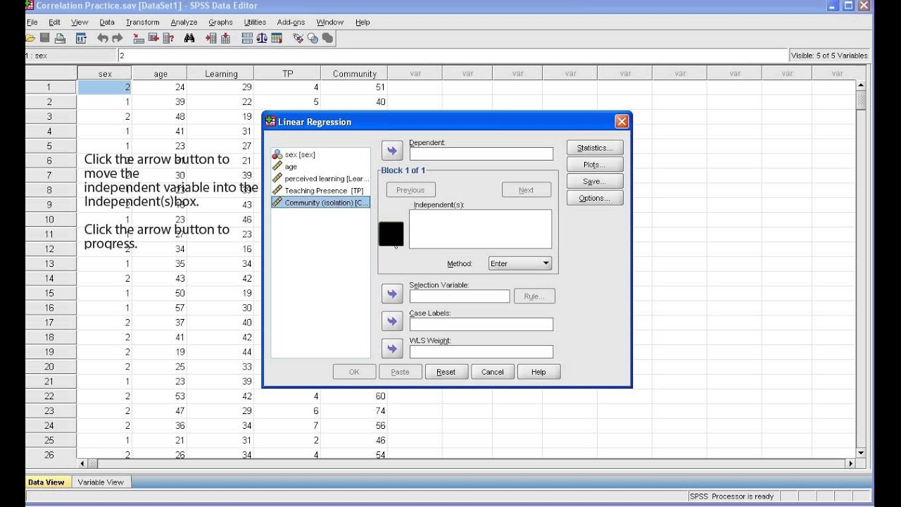 SPSS Tutorial: Bivariate Regression - YouTube