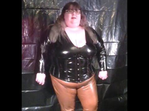 14 013  BBW FetishKimmy Brown Latex Leggings Part 2