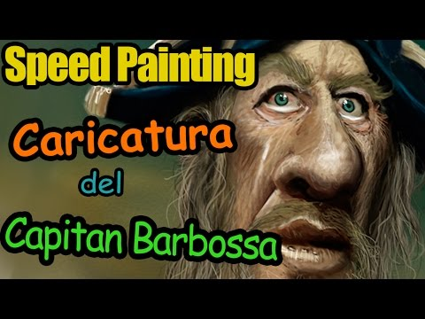 Speed Painting Caricature of Captain Barbossa Geoffrey Rush Caricatura Process Time Lapse