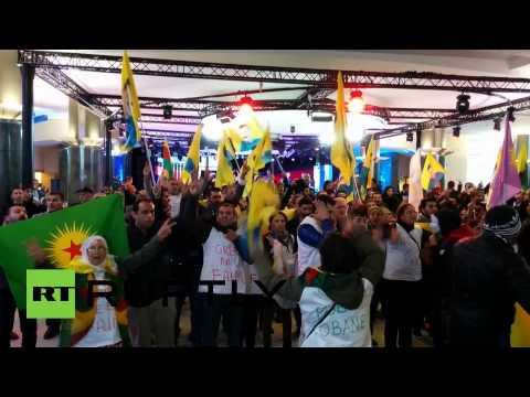 RAW: Kurdish protesters storm EU parliament in Brussels
