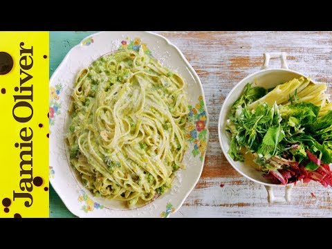 Jamie's Smoked Fish, Pea and Asparagus Fettuccine