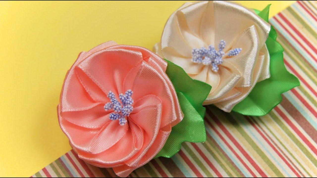 Как сделать цветок из атласной ленты 2