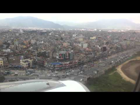 Nepal airlines RA 206 airbus A320 landing at Kathmandu from Delhi.