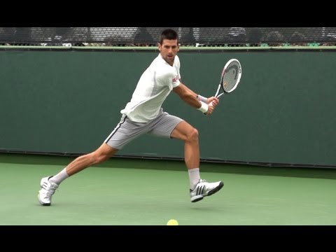 Novak Djokovic in Super Slow Motion - Forehand Backhand - BNP Paribas Open 2013