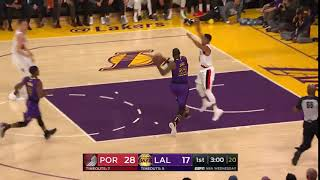 Brandon Ingram with the deep pass to LeBron who takes it to the rim for the two handed slam