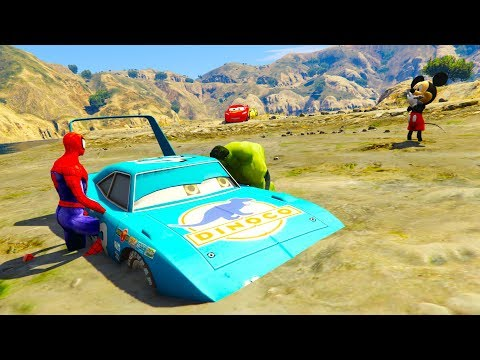 Cars 3 Movies Spiderman &Hulk Rescue Dinoco King From Swamp w Disney Cars 3 Spiderman Cartoon For Ki