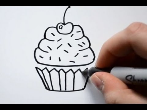 Small Cupcakes Drawings How to Draw a Cartoon Cupcake