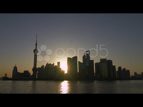 City sunrise time lapse Shanghai bund. Stock Footage