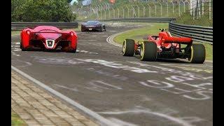F1 Ferrari SF71H '18 vs Ferrari F80 vs Bugatti Chiron vs Mercedes-Benz Vision GT at Nordschleife