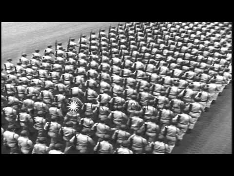 Soldiers march in formation to honor American actor and US Army First Lieutenant ...HD Stock Footage