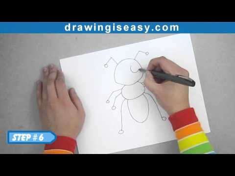 How to draw a cartoon ant