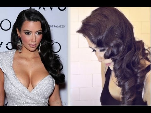 ★KIM KARDASHIAN HAIR TUTORIAL:  CURLY VINTAGE HAIRSTYLES  HOW TO CURL YOUR HAIR FOR MEDIUM LONG HAIR