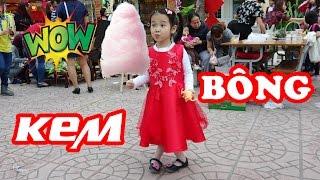 KẸO BÔNG GÒN KHỔNG LỒ 😍 Xem làm kẹo bông gòn và ăn thử ❤ Dâu tây channel