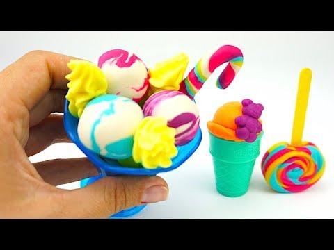 Пластилин для детей, учимся лепить мороженое и леденцы