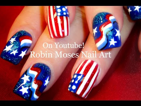 Nail Art Tutorial | DIY 4th of July Nails | Red White and Blue Flag Nail Design