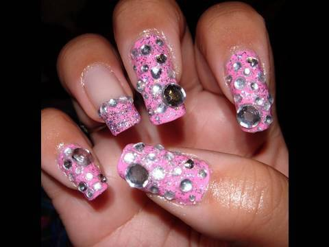 pink with rhinestones nail tutorial  youtube