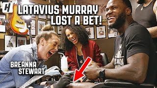 LATAVIUS MURRAY GETS A TATTOO OF BREANNA STEWART!