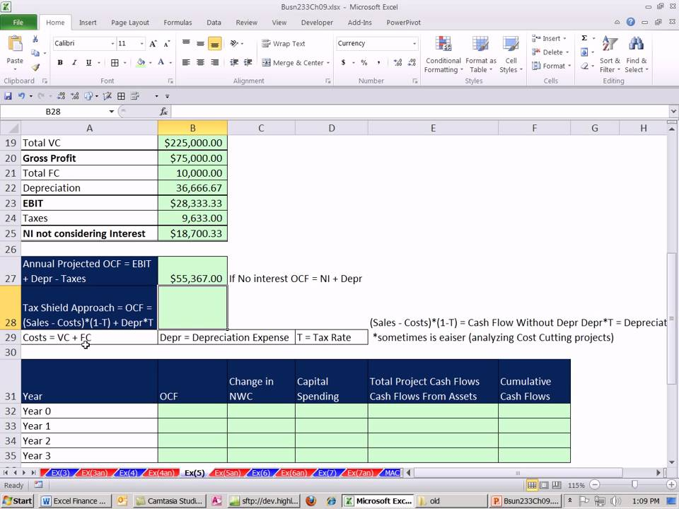excel finance class 83  estimating cash flows for npv