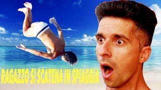 Ragazzo si scatena in spiaggia IMPRESSIONANTE