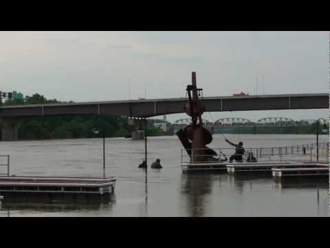 Missouri River Flooding at Omaha, Nebraska USA
