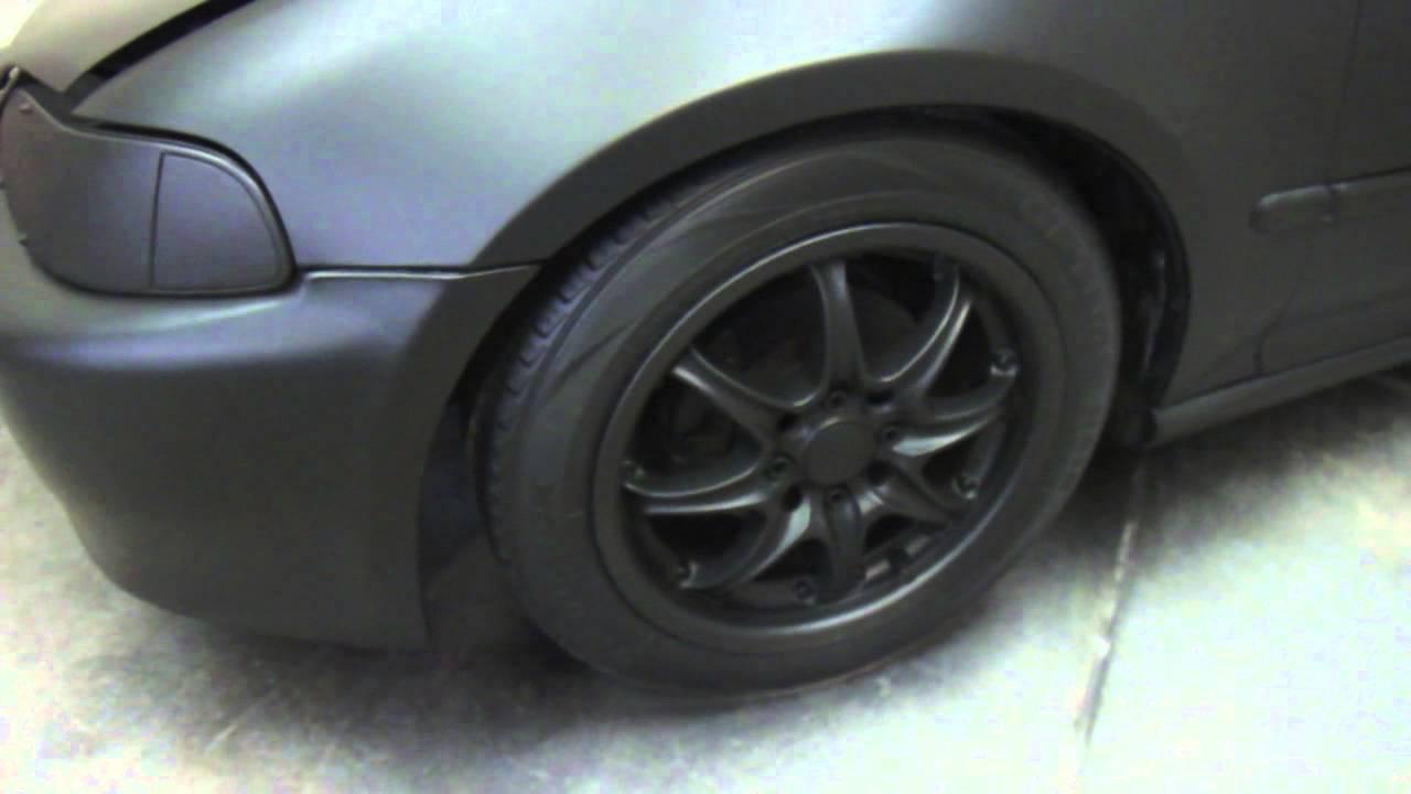 Cd auto dip wrap rubber paint black matte civic youtube for Matte black car paint price