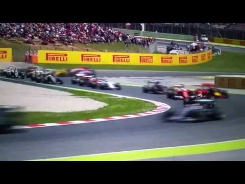 F1 TWO MERCEDES CRASH OUT HAMILTON VS ROSBERG F1 START RACE BARCELONA CATALUNYA SPAIN GP GRAND PRIX