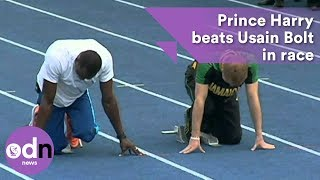 Prince Harry beats Usain Bolt in race