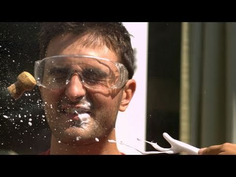 Champagne Cork to the Face - The Slow Mo Guys