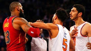 LeBron James vs Enes Kanter Fight & Scuffle - Cleveland Cavaliers vs New York Knicks