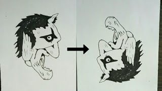 How to turn Evil into Angel drawing - Optical illusion drawing.