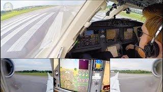 MASSIVE Falcon 7X 3-Engined Private Jet Brazil-Ireland Air Hamburg ULTIMATE COCKPIT MOVIE [AirClips]