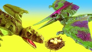 JURASSIC WORLD Flying Dinosaurs Fight PTERANODON vs DIMORPHODON Reptiles Save  EGGS SuperFunReviews