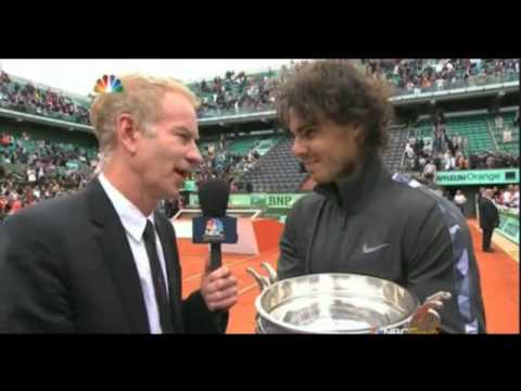 Rafael Nadal SNBC Interview with John McEnroe after win RG 2012